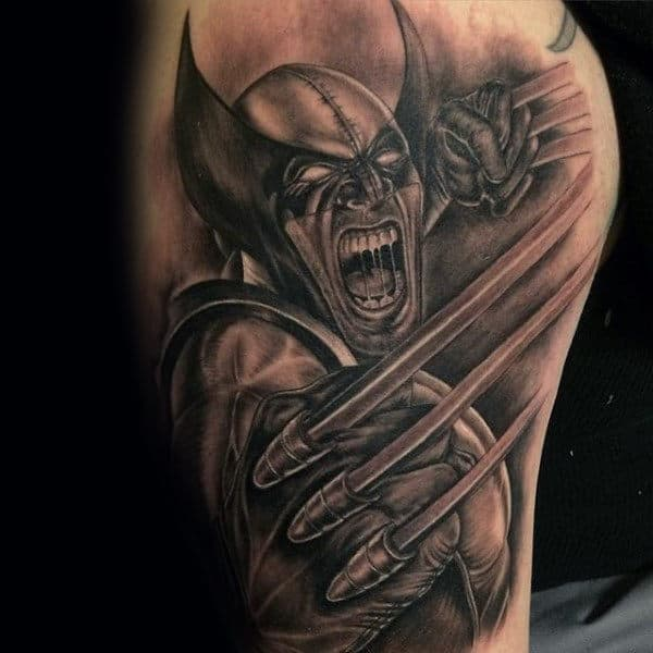 Shaded Wolverine Masculien Guys Arm Tattoos