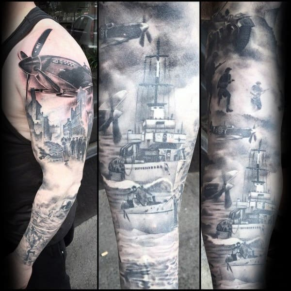 Shaded Ww2 Navy Ship Mens Full Arm Sleeve Tattoos