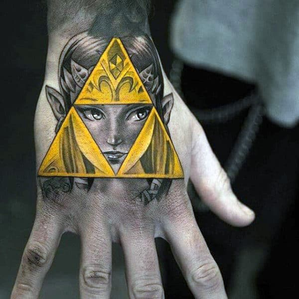 Shaded Yellow Triforce Guys Zelda Hand Tattoos