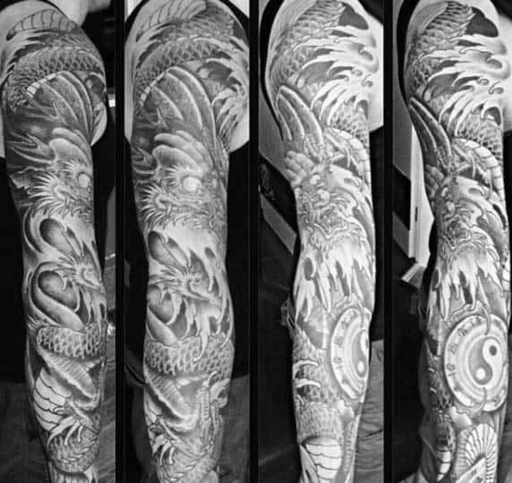 Shaded Yin Yang Japanese Dragon Mens Full Sleeve Tattoo Ideas