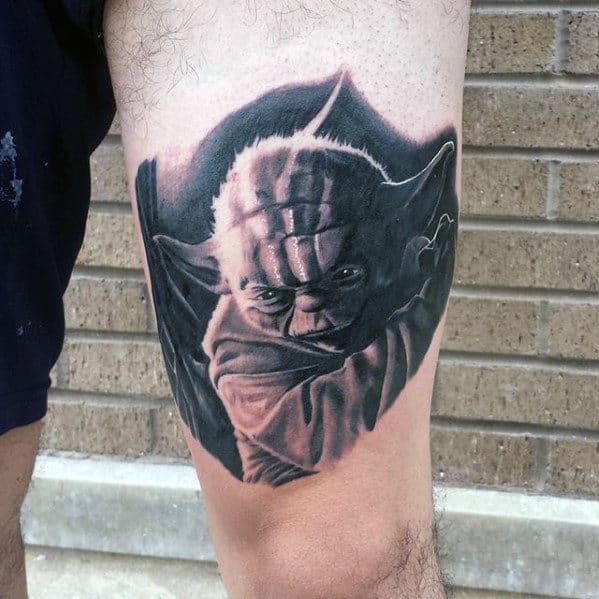 Shaded Yoda Thigh Mens Black And Grey Ink Tattoos