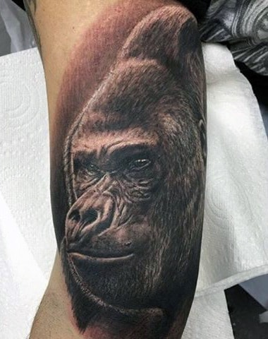 Shading Gorilla Mens Arm Tattoos