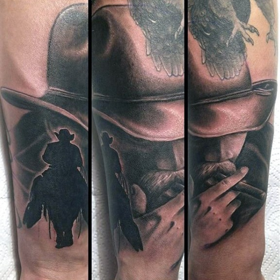 Shadow And Cowboy Smoking Shaded Tattoo For Men