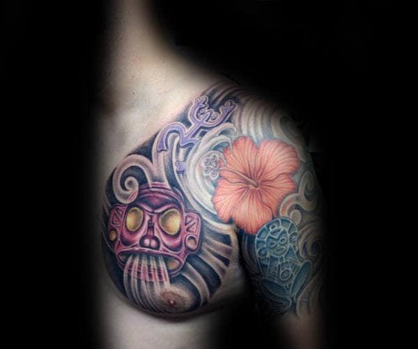 Shaman Blowing Wind Guys Taino Chest Tattoo Ideas
