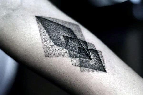 Shapes Overlaped Pointillism Mens Inner Forearm Tattoo