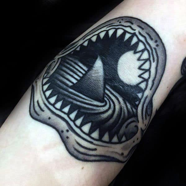 Shark Fin Inside Jaws Mens Old School Traditional Forearm Tattoo