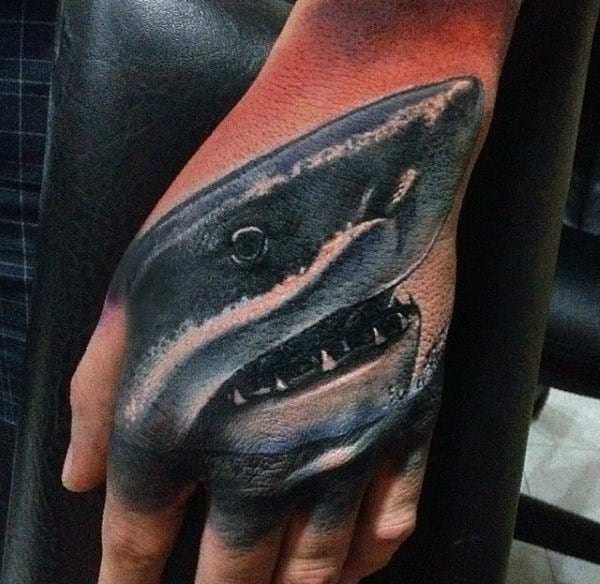 Shark Mens Detailed Hand Tattoos