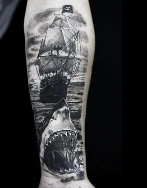 Shark Men's Tattoo Tribal Ship
