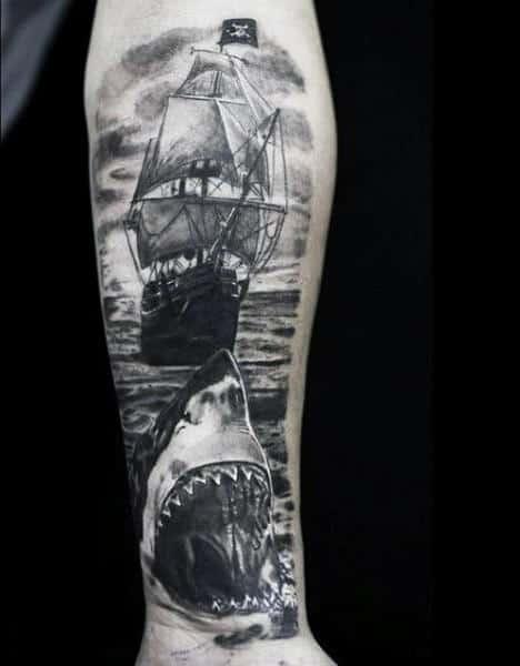 Shark Men's Tattoo Tribal Ship