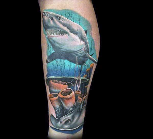 Shark Swimming Through Coral Reef Mens Leg Tattoos