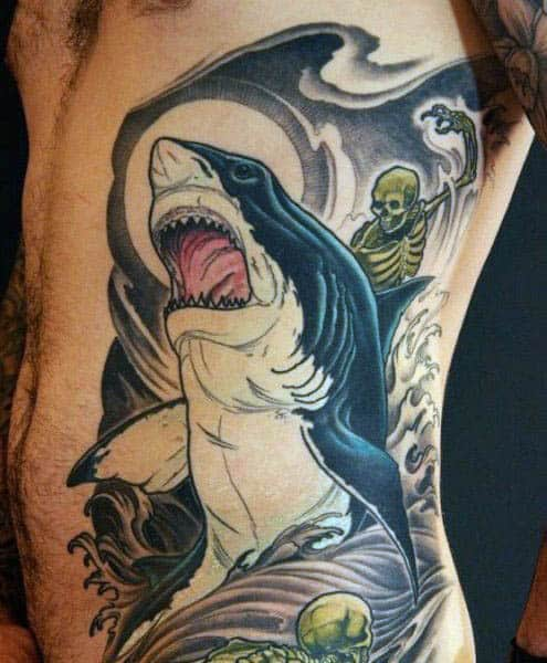 Shark Teeth Men's Tattoos On Side Of Rib Cage