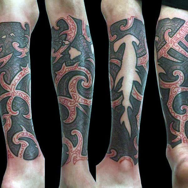 Shark Tribal Negative Space Guys Sleeve Leg Tattoo