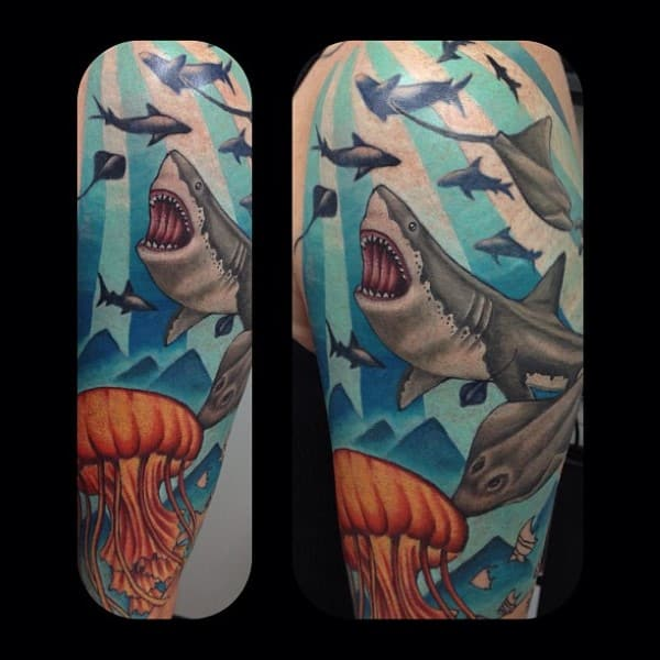 Shark With Jellyfish And Stingray Ocean Themed Male Tattoos On Arm