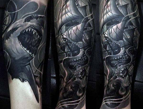 Shark With Kraken Badass Guys Forearm Sleeve Tattoos