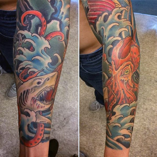 Shark With Octopus Guys Japanese Sleeve Tattoo Designs