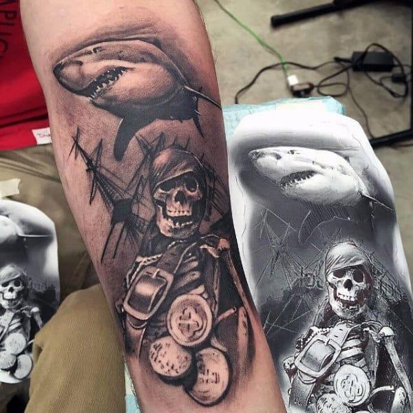 Shark With Skeleton Pirate Modern Forearm Tattoos For Men