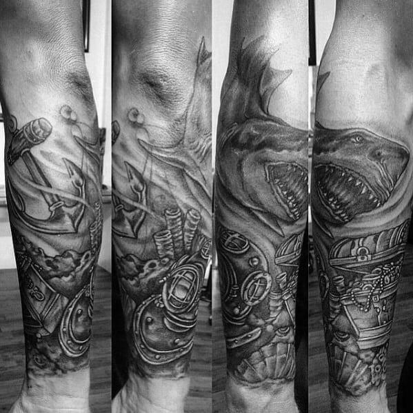 Shark With Treasure Chest Mens Ocean Forearm Sleeve Tattoos