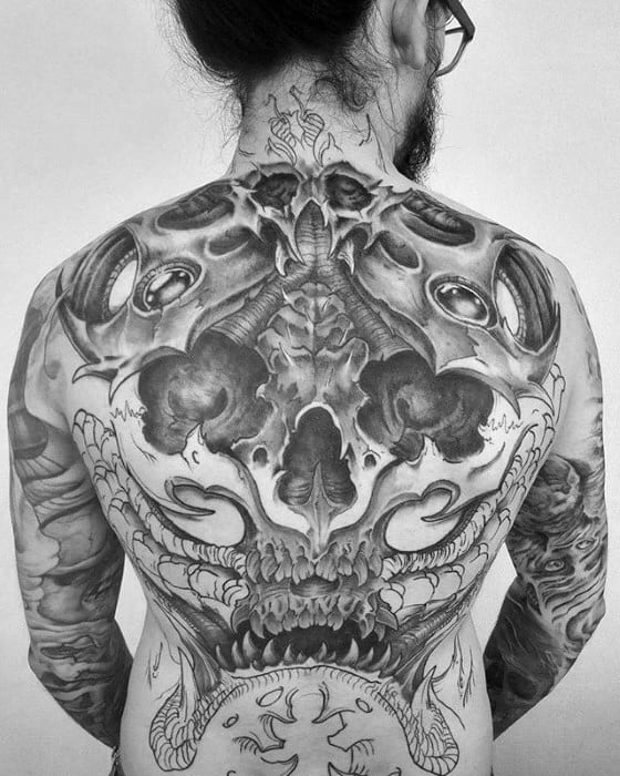 Sharp 3d Skull Awesome Back Male Tattoo Ideas