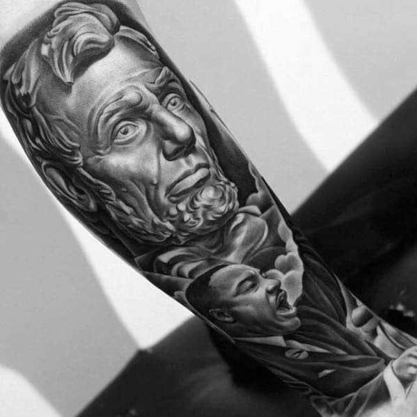 Sharp Abraham Lincoln Leg Sleeve Male Tattoo Ideas
