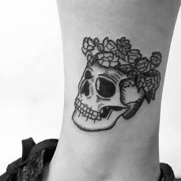 Sharp Ankle Skull With Flower Head Male Tattoo Ideas