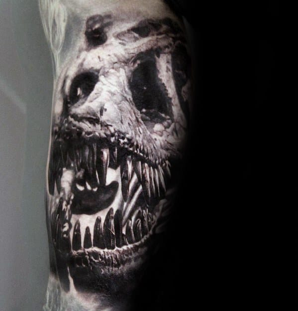 Sharp Badass Dinosaur Skull Male Tattoo Ideas