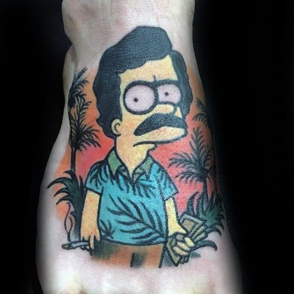 Sharp Bart Simpson Pablo Escobar Themed Male Foot Tattoo Ideas