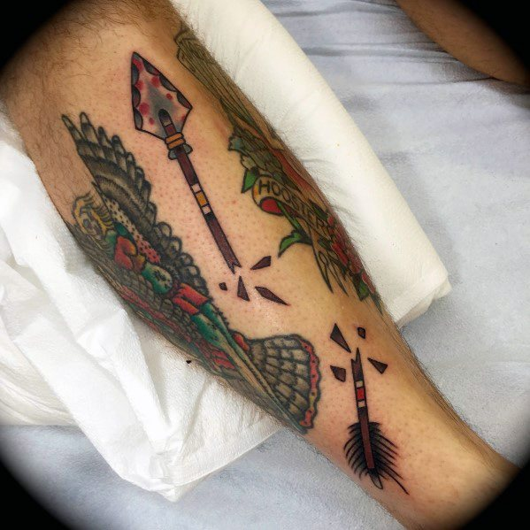 Sharp Broken Arrow Male Tattoo Ideas On Leg