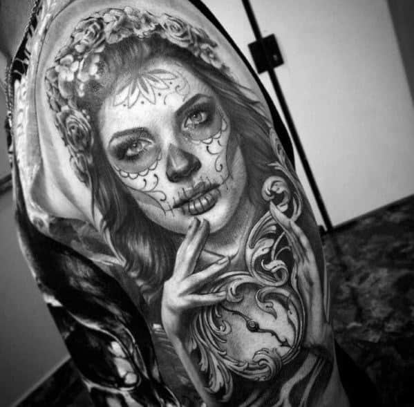 Sharp Catrina Male Tattoo Ideas