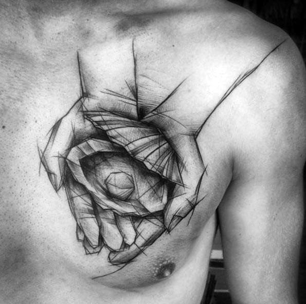 Sharp Chest Hands Holding Clam Shell With Pearl Sketch Male Tattoo Ideas