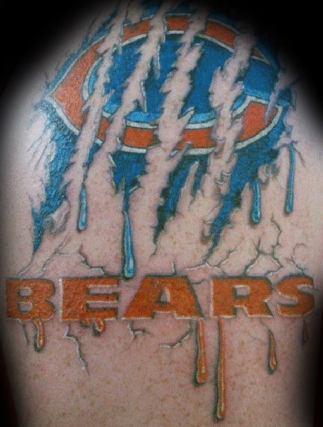 Sharp Chicago Bears Male Tattoo Ideas With Dripping Paint Design On Upper Arm