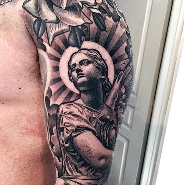 Sharp Chicano Half Sleeve 3d Angel Statue Male Tattoo Ideas
