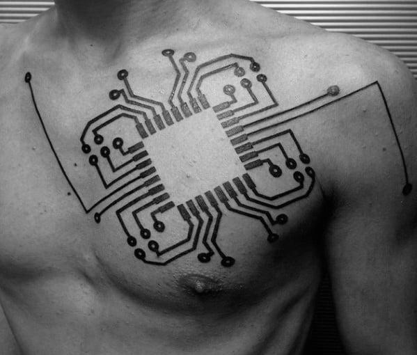 Sharp Computer Circuit Board Chest Black Ink Male Tattoo Ideas
