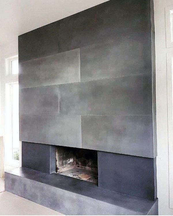 Sharp Concrete Fireplace Design