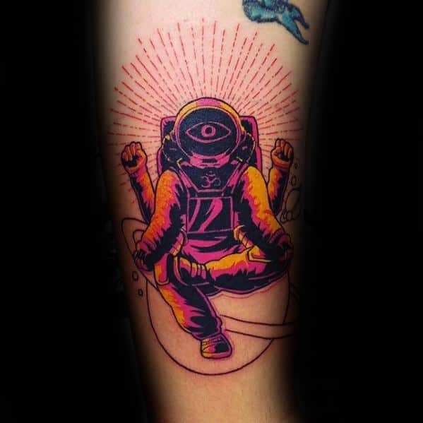Sharp Consciousness Astronaut Glowing Forearm Male Tattoo Ideas