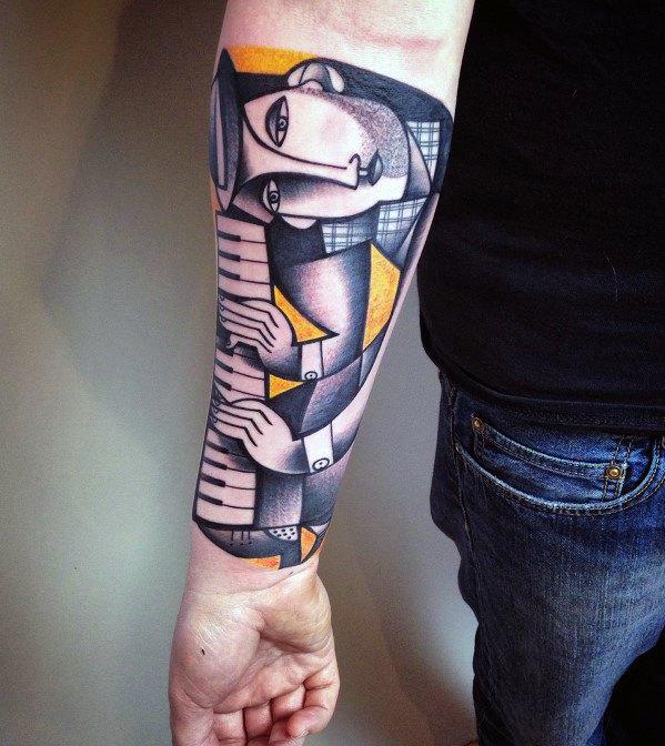 Sharp Cubism Male Tattoo Ideas