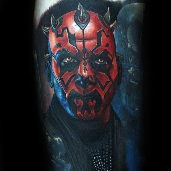 Sharp Darth Maul Male Tattoo Ideas