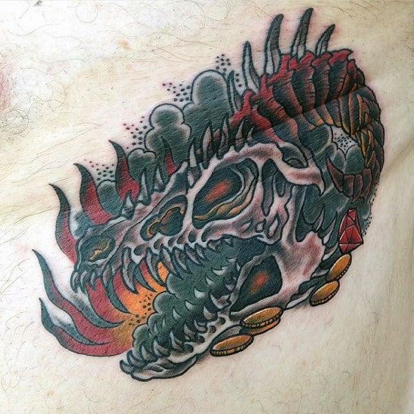 Sharp Dragon Skull Male Tattoo Ideas