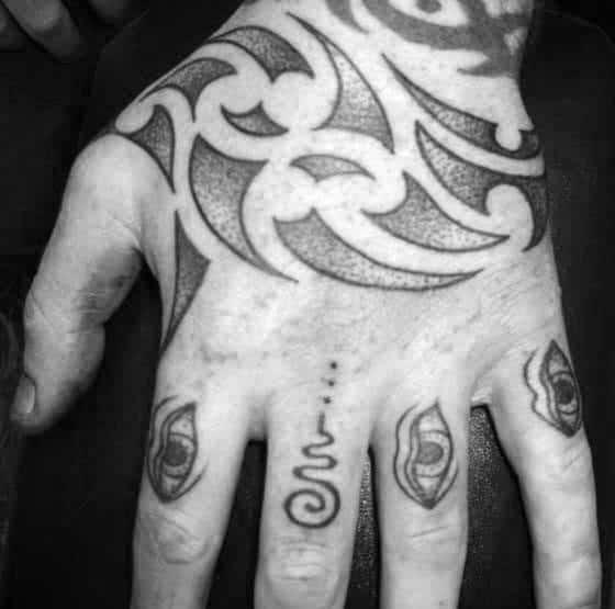 Sharp Edge Tribal Guys Hand Tattoos