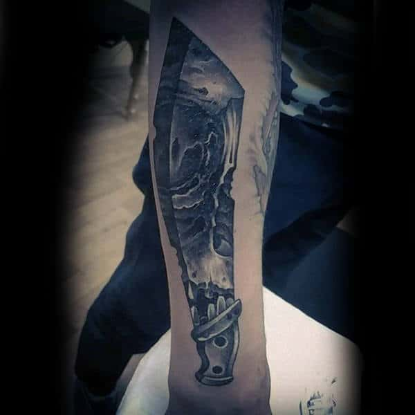 Sharp Edged Black And White Tattoo Male Forearms