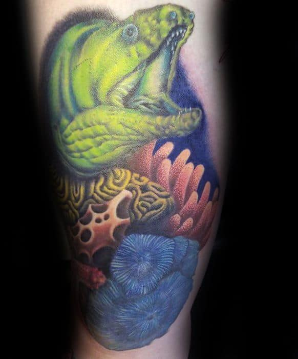 Sharp Eel Coral Reef Leg Male Tattoo Ideas