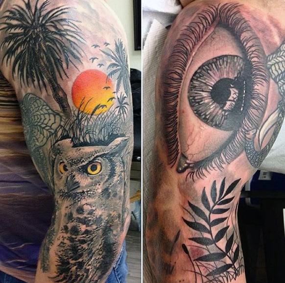 100 palm tree tattoos for men tropical design ideas rh nextluxury com Feminine Owl Tattoos owl tree tattoo
