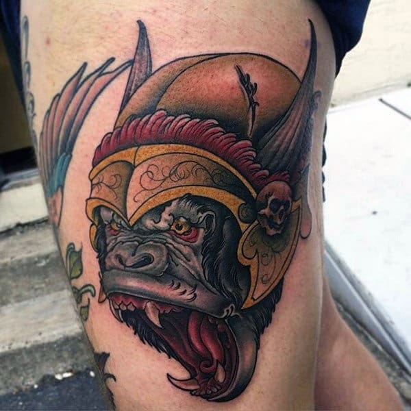 Sharp Fanged Beastly Warrior Tattoo Thighs Men