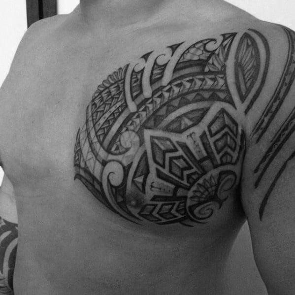 Sharp Filipino Sun Male Tattoo Ideas On Chest