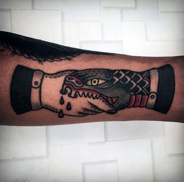 Sharp Forearm Handshake Male Tattoo Ideas