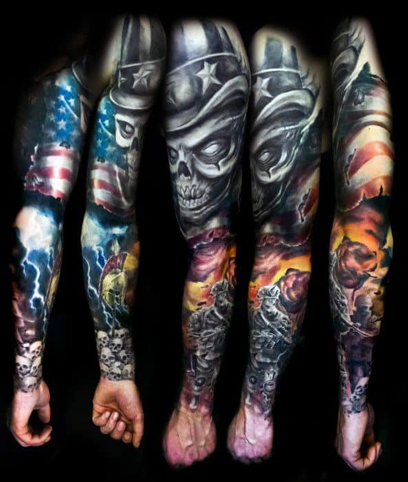 Sharp Full Arm Sleeve Uncle Sam Male Tattoo Ideas