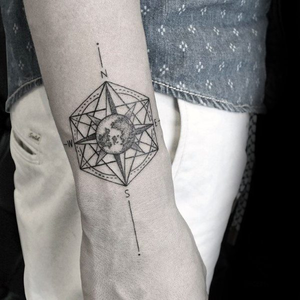 Sharp Geometric Compass Male Tattoo Ideas