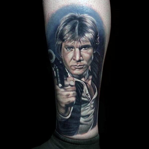 Sharp Han Solo Male Tattoo Ideas On Lower Leg
