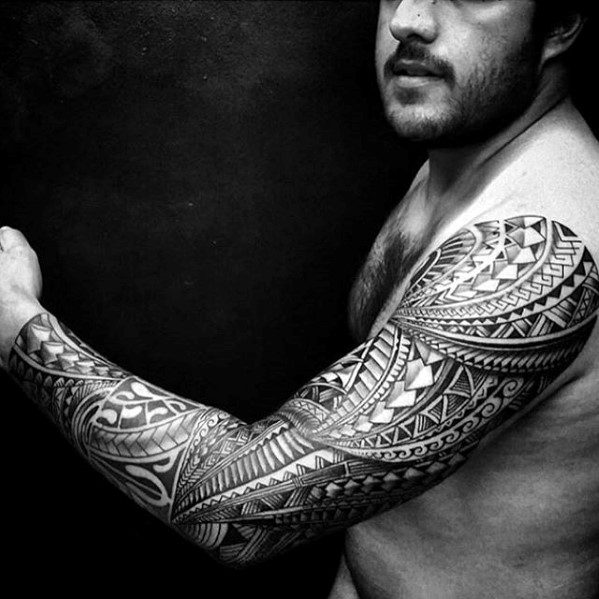 Sharp Hawaiian Sleeve Awesome Tribal Male Tattoo Ideas
