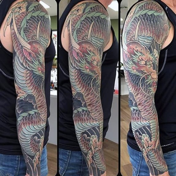 Sharp Horned Dragon Tattoo Male Full Sleeves