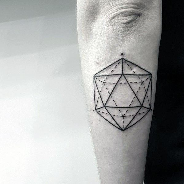 Sharp Icosahedron Male Tattoo Ideas